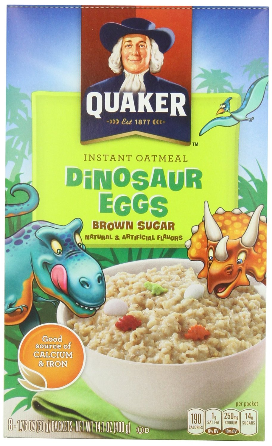 Quaker Instant Oatmeal Dinosaur Eggs, Brown Sugar Cereal, 8-Count 14.1 oz. Boxes (Pack of 4)