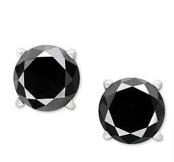 14k White Gold Earrings, Black Diamond Stud Earrings (3/4 ct. t.w.)