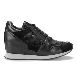 ASH WOMEN'S DRUG LEATHER HIDDEN WEDGED TRAINERS