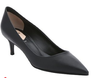 Fendi:  black leather pointed toe kitten heel pumps
