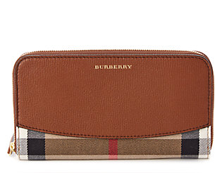 Burberry House Check Satorial & Leather Zip-Around Wallet