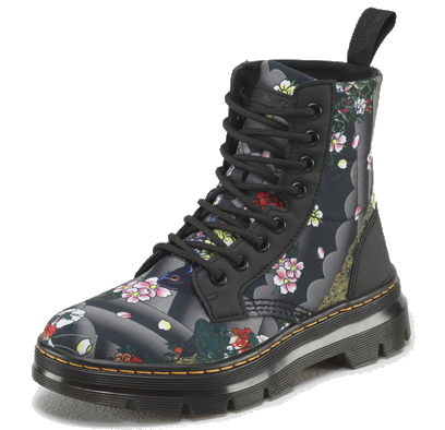 Gray & Black Floral Combs Leather Boot
