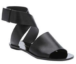 Proenza Schouler:  black leather ankle wrap flat sandals