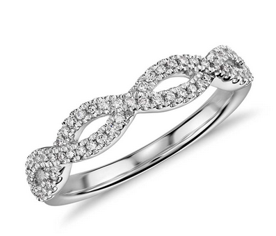 Infinity Twist Micropavé Diamond Wedding Ring