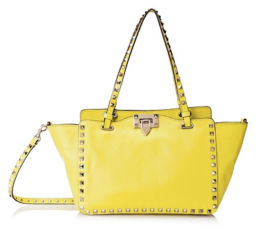 Valentino Rockstud Small Shopper, Naples Yellow