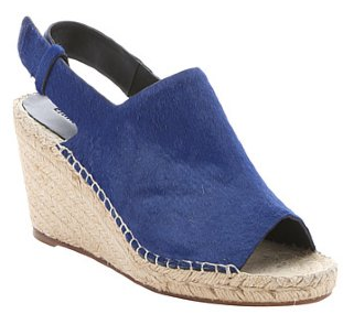Celine:  indigo calf hair slingback wedge sandals