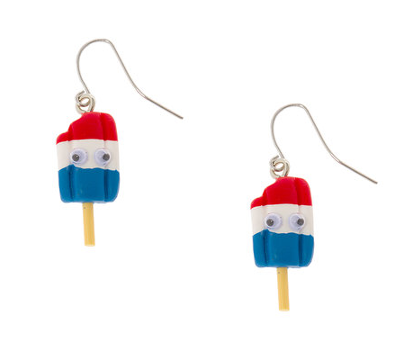 Googly Eye Red, White and Blue Popsicle Drop Earrings