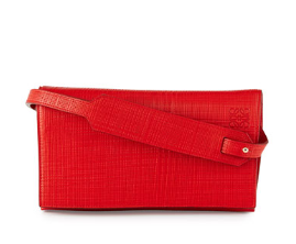 Loewe  Crosshatched Leather Flap-Top Clutch Bag