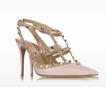 VALENTINO Rockstud Water Rose & Powder Leather Ankle Strap Pump
