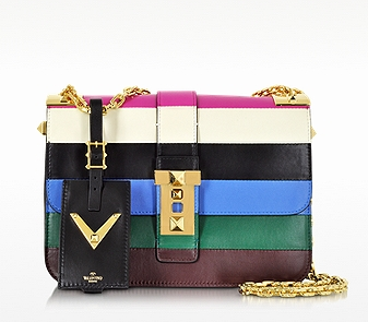 VALENTINO My Rockstud Blue & Multicolor Leather Chain Shoulder Bag