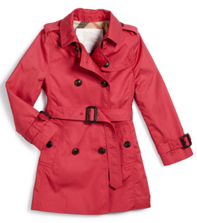 Burberry Buckingham Hooded Twill Trenchcoat, Bright Rose, Size 4-14