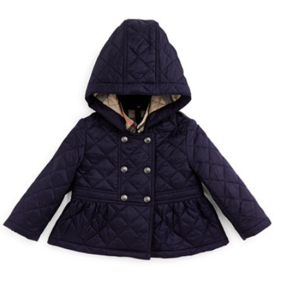 Burberry Portree Hooded Military Jacket, Navy, Size 3M-3Y