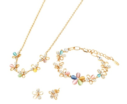 Sevil Mother-of-Pearl & Swarovski Elements Flower Earrings, Bracelet, & Necklace Set
