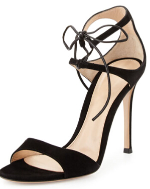 Gianvito Rossi Suede Ankle-Tie Sandal