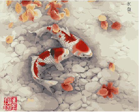 Diy oil painting, paint by number kit- Koi 16*20 inch.