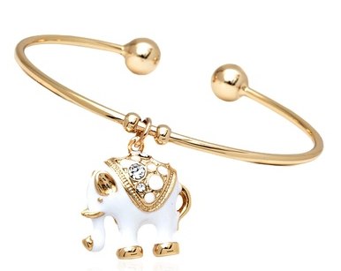 Sevil White Elephant & Swarovski Elements Charm Bangle