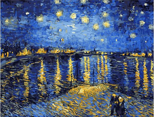Diy oil painting, paint by number kit- Rhone under the starry night 16*20 inch.