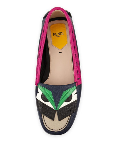 Fendi Bugs Leather Monster Moccasin
