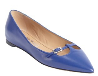 Salvatore Ferragamo:  sapphire leather 'Patty' cutout detail flats