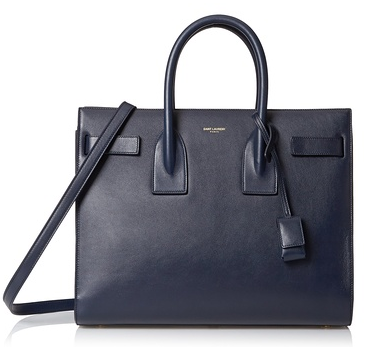 Saint Laurent Leather Satchel, Marine