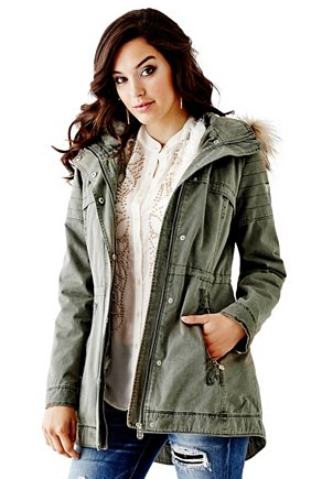 Quilted Anorak with Fur Trim