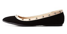 QUPID STUDDED POINTED TOE FLATS