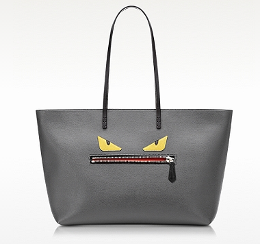 FENDI Roll Bag Eyes Grey Leather Shopping Tote