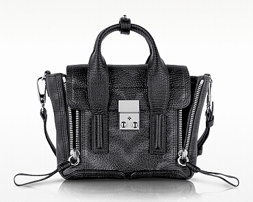 3.1 PHILLIP LIM Black and Silver Metallic Leather Pashli Mini Satchel