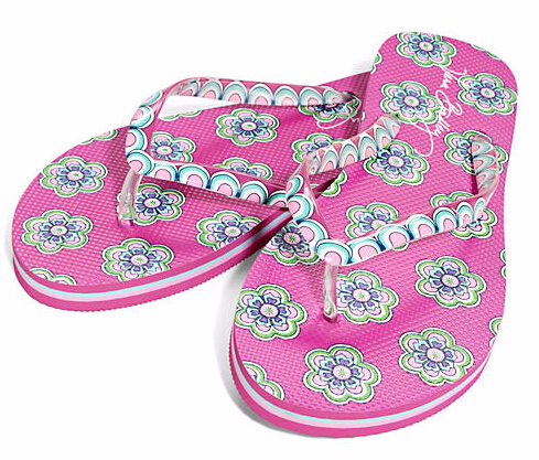 Flip Flops in Pink Swirls Flowers