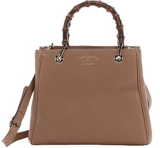 camelia leather small convertible bamboo shopper tote