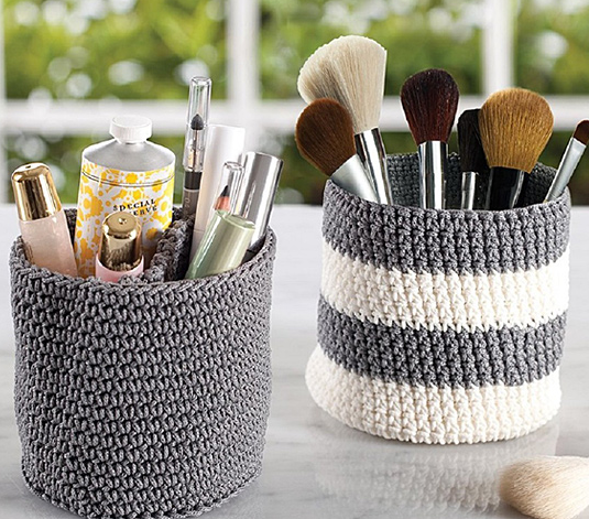 Gray & Ivory Mini Vanity Knit Bins - Set of Two