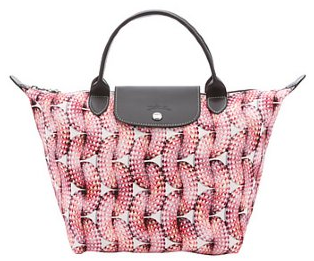 Longchamp coral leather trimmed canvas 'Surf & The City' medium tote