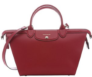 Longchamp:  red leather 'Le Pliage Heritage' convertible top handle bag
