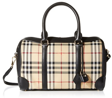 BURBERRY Checked Satchel, Black