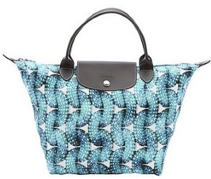 Longchamp:  blue leather trimmed canvas 'Surf & The City' medium tote