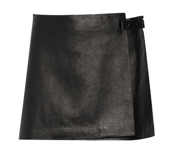 T BY ALEXANDER WANG Wrap-effect leather skirt