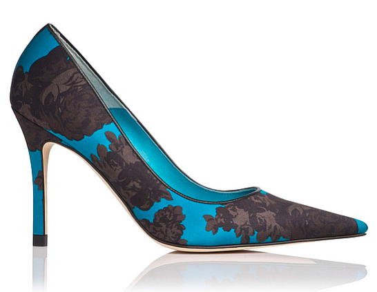 Sheila Satin Floral Print Point Toe Heel