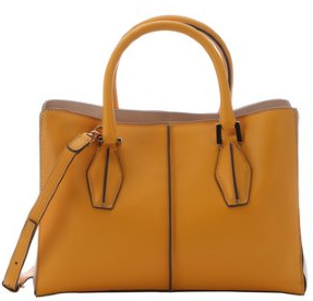 Tod's:  light mango leather structured shopper tote