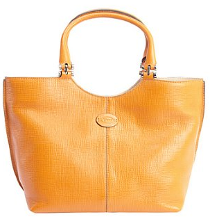 Tod's:  orange leather logo 'Piccola' shopping tote
