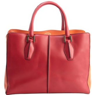 Tod's:  orange and fuschia leather 'D-Cube Medium Shopping' bag