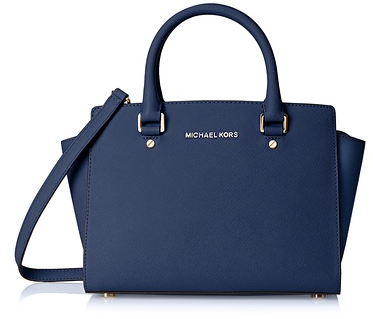 MICHAEL Michael Kors Selma Medium Saffiano Leather Satchel, Navy