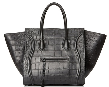 Celine Phantom Medium Tote Bag, Black Croco Embossed