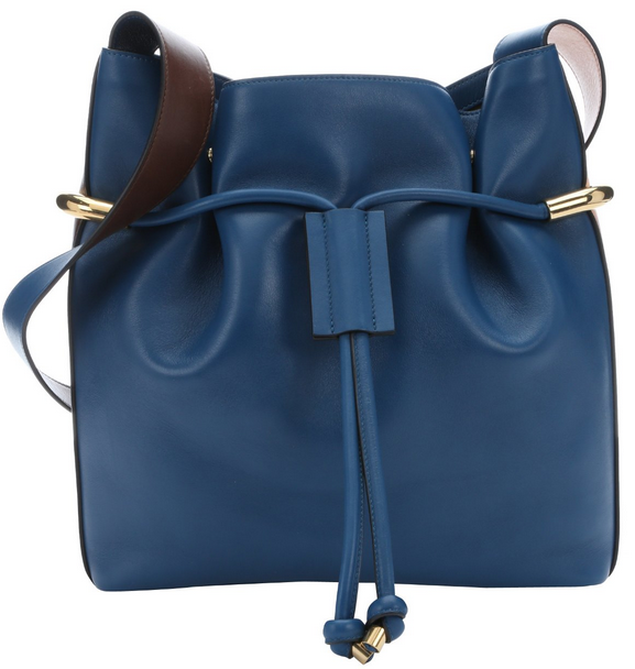 Chloe:  factory blue leather 'Emma' medium drawstring bucket bag