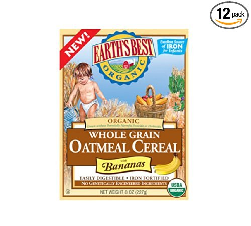 Earth's Best Organic, Whole Grain Oatmeal Cereal with Bananas, 8 Ounce (Pack of 12)