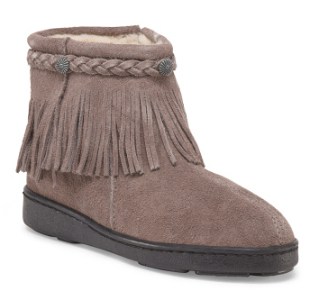 Suede Pile Lined Fringe Bootie
