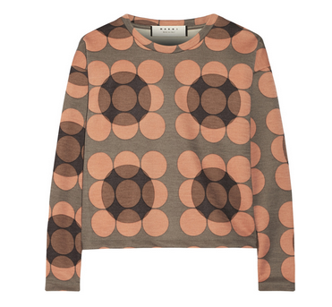 MARNI Printed stretch-wool top
