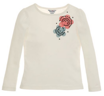 Infant Flower Embroidery Knit Top