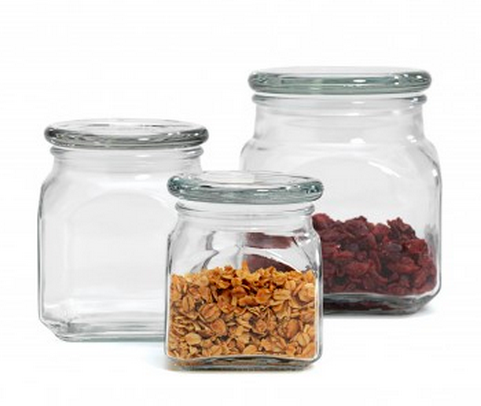 Anchor Hocking Emma Jar Set of 3 w/ Glass Lid