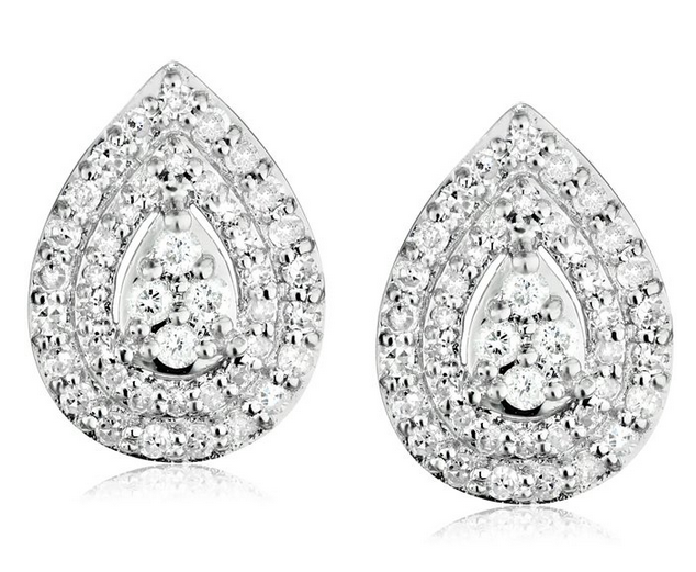 10k White Gold and Diamond Stud Earrings (1/2 cttw, I-J Color, I2-I3 Clarity)