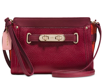 coach swagger wristlet in colorblock pebble-leather